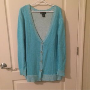 Lane Bryant NWOT Boyfriend Cardigan Sweater Aqua